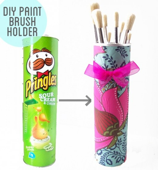 How to make DIY Pringles can paint brush holder step by step tutorial instructions