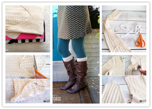 How to make DIY boot socks from old sweaters step by step tutorial instructions