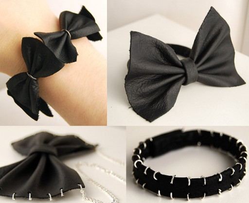 How to make DIY bow leather bracelet and necklace step by step tutorial instructions
