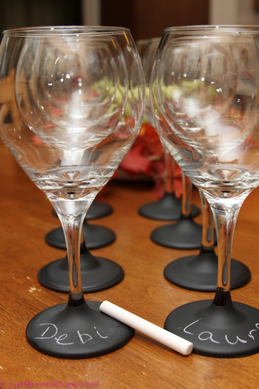 How to make DIY chalkboard painted wine glasses step by step tutorial instructions