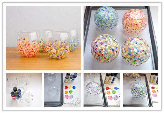 how to make diy colorful hand dotted tumblers step by step