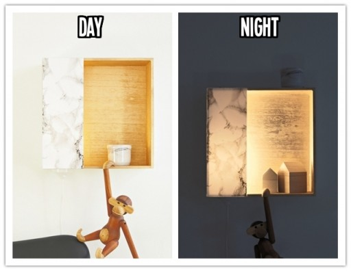 How to make DIY hidden wall light with wooden storage boxes step by step tutorial instructions