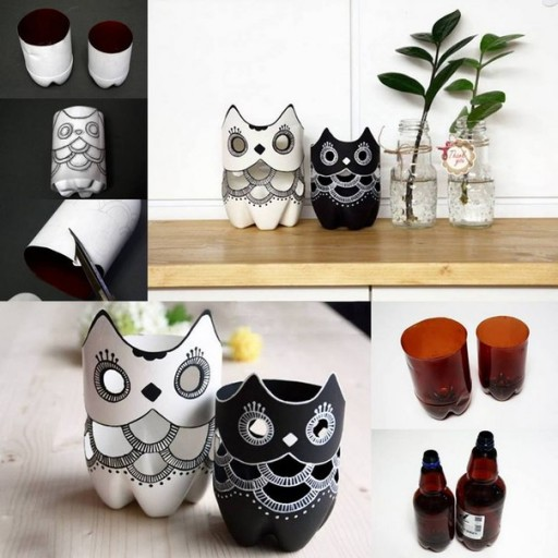 How to make DIY plastic bottle owl lamp step by step tutorial instructions
