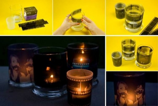 How to make DIY used film candle holder step by step tutorial instructions