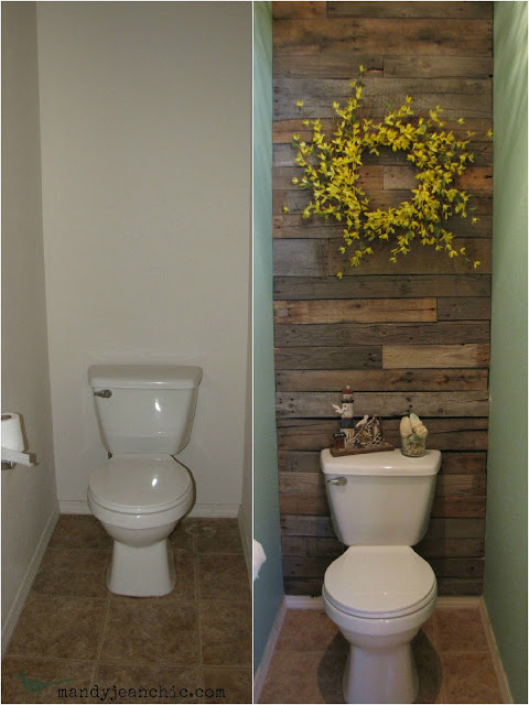How to make a DIY pallet wall for free toilet room step by step tutorial instructions