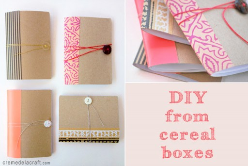 How to make a pretty DIY mini pocket notebook from cereal boxes step by step tutorial instructions
