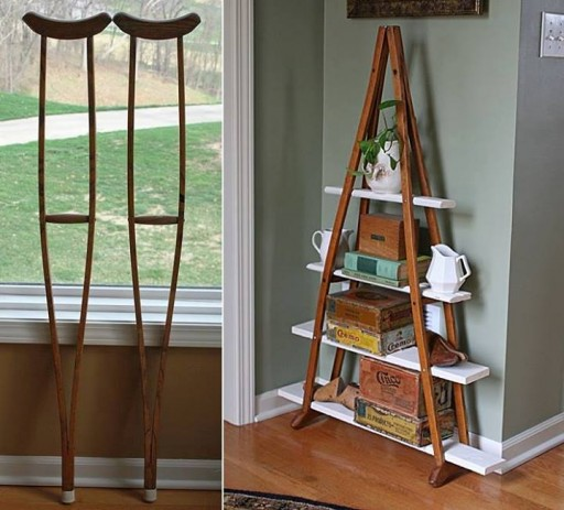 How to make a vintage bookshelf from old crutches step by step DIY tutorial instructions thumb 512x463 9 creative ways to make DIY storage shelves