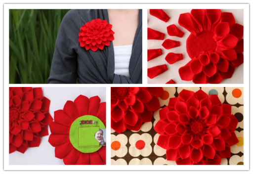 How to make beautiful DIY Felt Dahlia Flower Brooch for mother's day step by step tutorial instructions