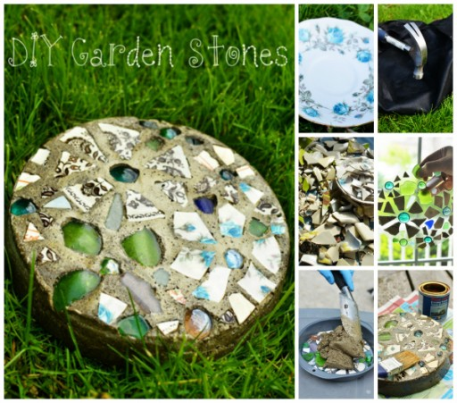 How to make beautiful DIY mosaic garden stepping stones step by step tutorial instructions