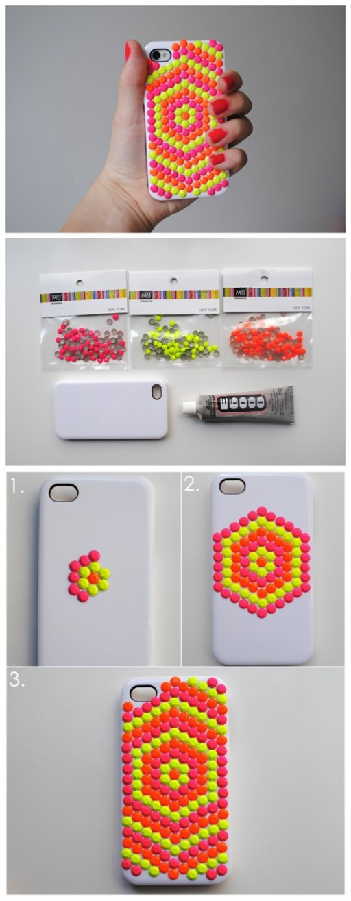 How to make beautiful DIY neon stud phone cases step by step tutorial instructions
