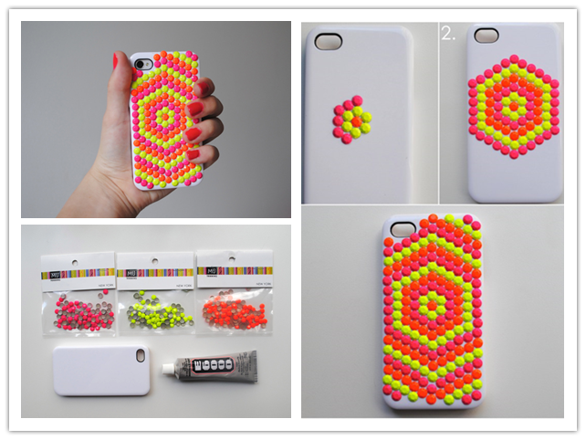 How to make beautiful diy neon stud phone cases step by for How to make phone cases at home
