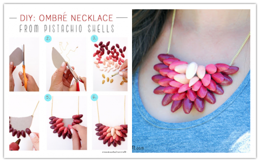 How to make beautiful DIY ombre necklace with pistachio shells step by step tutorial instructions