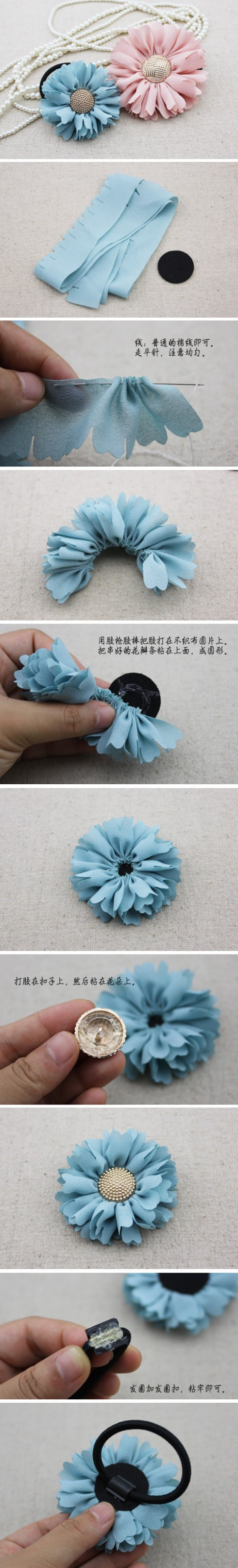 How to make beautiful DIY sun flower hair bands step by step tutorial instructions