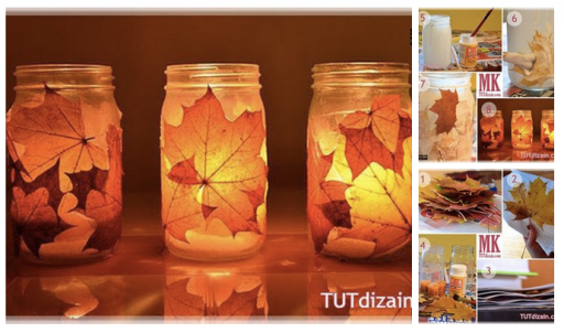 How to make beautiful autumn leaf luminaries step by step DIY tutorial instructions