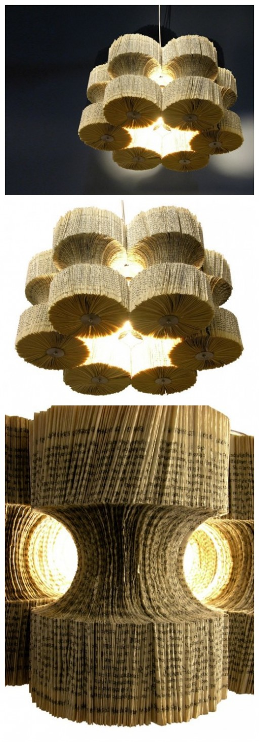 How to make brilliant recycled book chandelier step by step DIY tutorial instructions