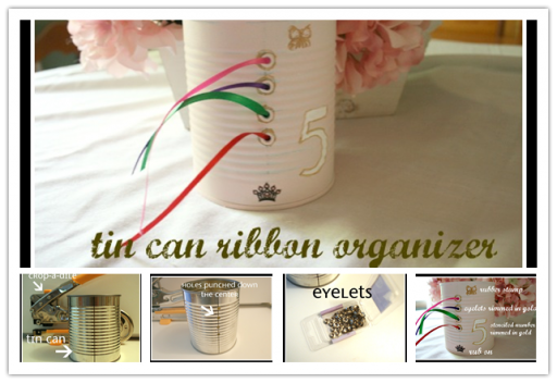 How to make convenient DIY tin can ribbon storage and organization bucket step by step DIY tutorial instructions