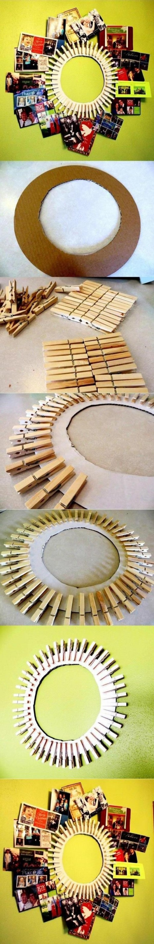 How to make cool DIY clothpin picture frame step by step tutorial instructions
