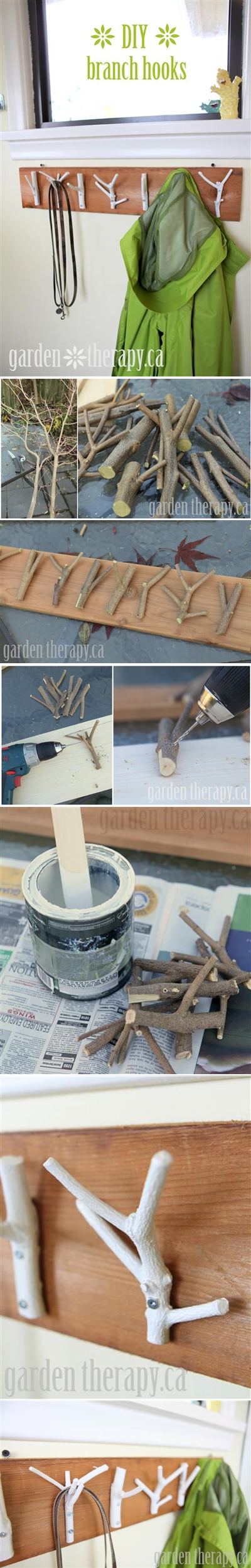 How to make cool DIY coat racks with branches step by step tutorial instructions