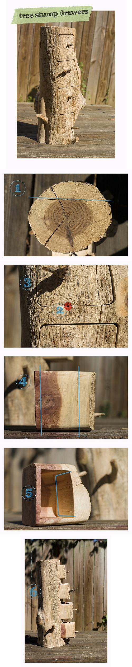 How to make cool DIY drawers with tree stumps step by step tutorial instructions