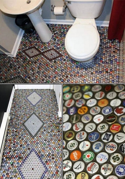 How to make cool bathroom floors with beer bottle caps for What to make with beer bottle caps