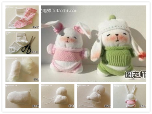 How to make cute DIY bunnies from old socks step by step tutorial instructions