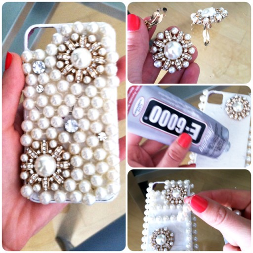 How to make cute DIY pearl iPhone cases step by step tutorial instructions