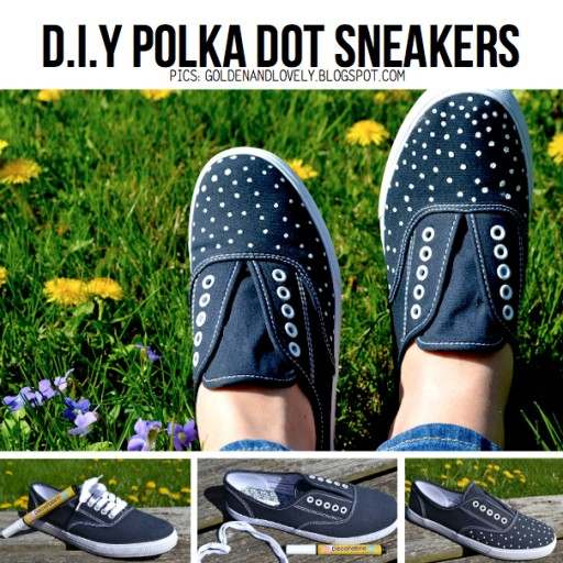 How to make cute DIY polka dot sneakers step by step tutorial instructions