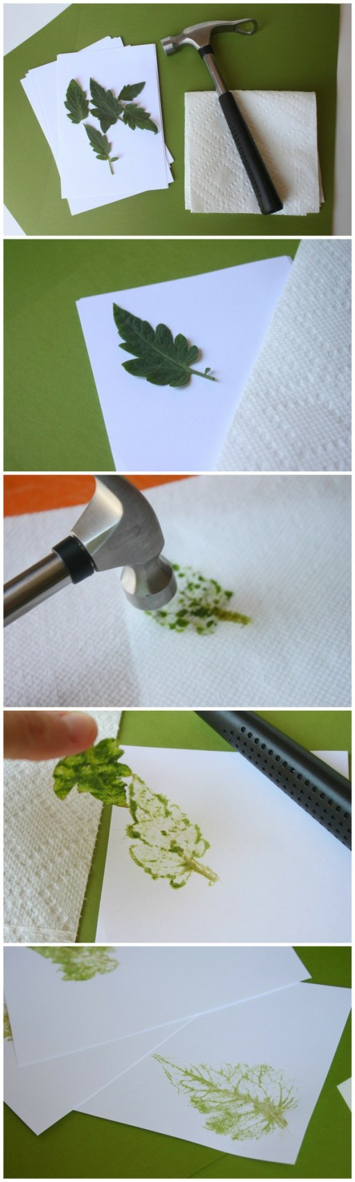 How to make cute DIY stationary with leaf stamp step by step tutorial instructions