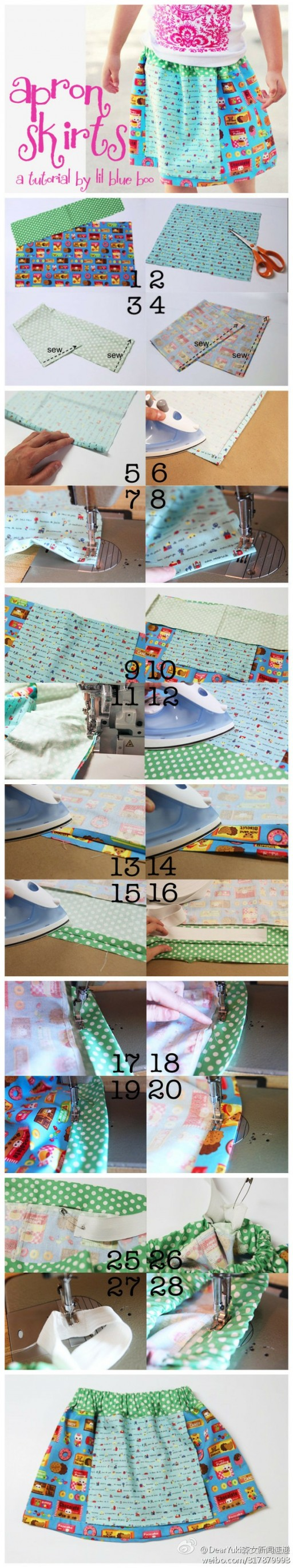 How to make cute apron skirts step by step DIY tutorial instructions with downloadable measures