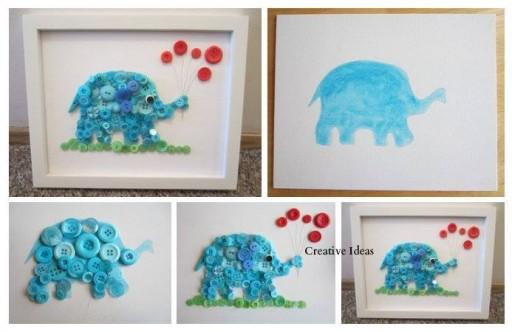 How to make cute button elephant wall decoration step by step DIY tutorial instructions