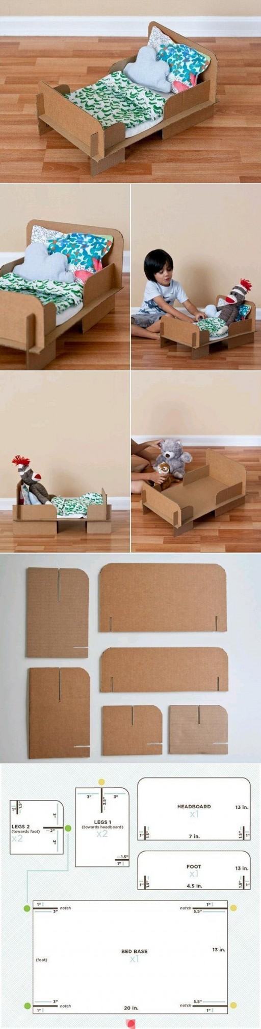 How to make cute cardboard DIY toy kids bed step by step tutorial instructions