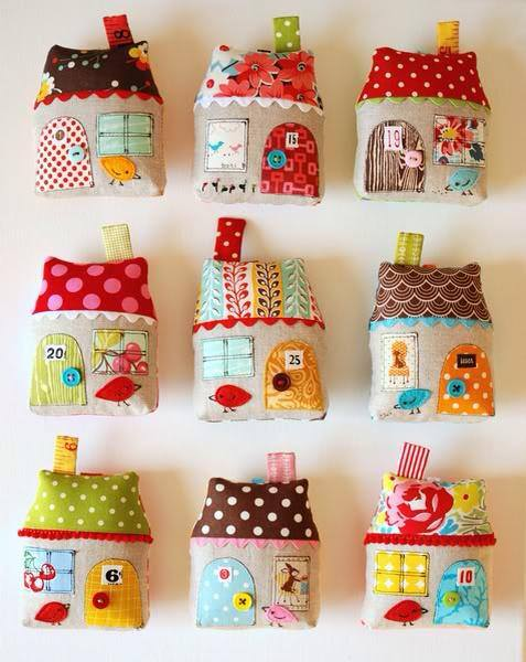 How to make cute fabric house ornaments step by step DIY tutorial instructions