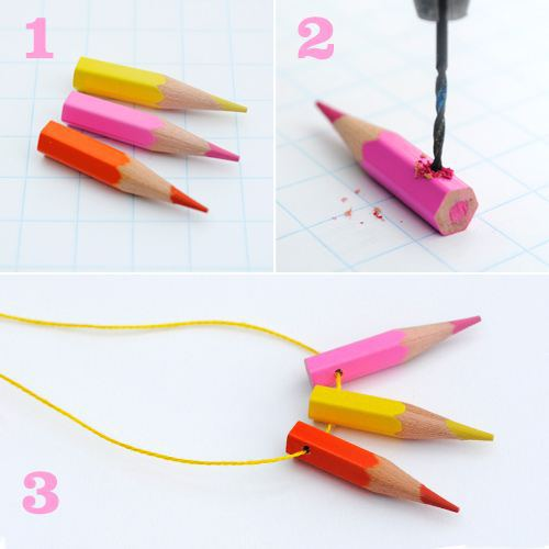 How to make cute jewelries from color pencils step by step tutorial instructions 2