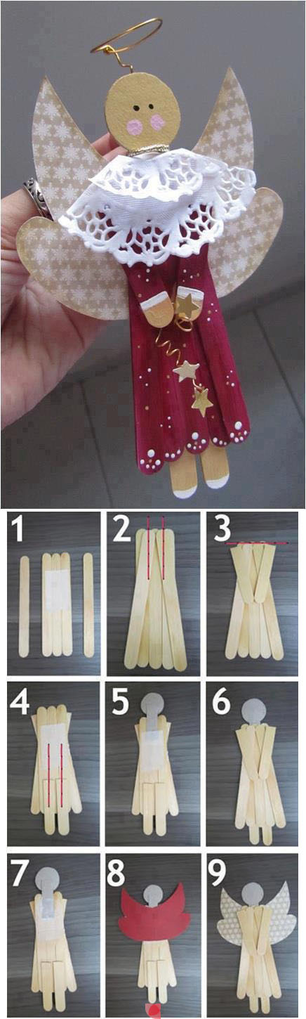 How to make cute popsicle stick angel step by step DIY tutorial instructions