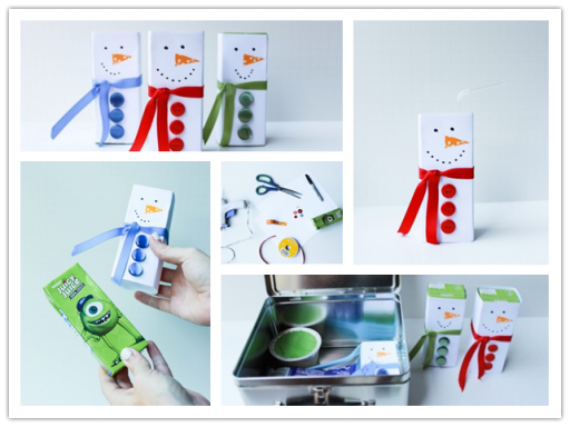 How to make cute snowmen juice box step by step DIY tutorial instructions