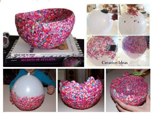 How to make decorative bowls with confetti step by step DIY tutorial instructions