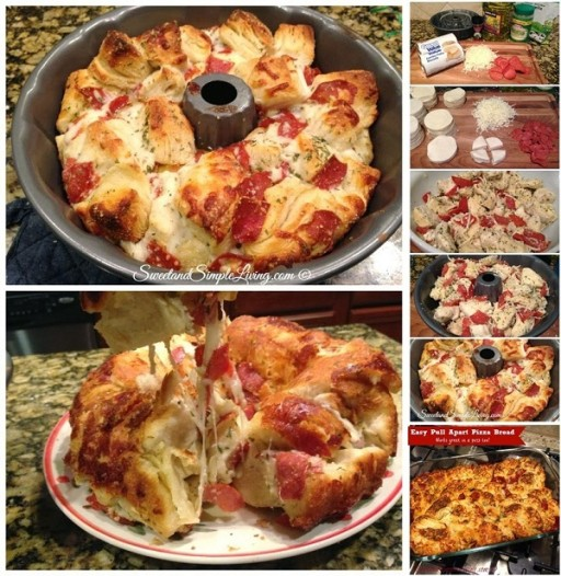 How to make delicious DIY easy pull apart pizza bread step by step tutorial instructions and recipe