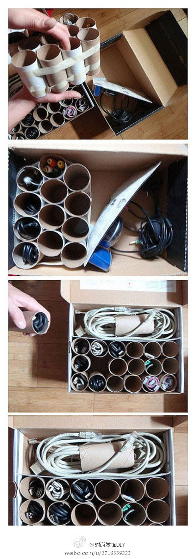 How to make eco-friendly DIY toilet paper roll electric wire storage box step by step tutorial instructions