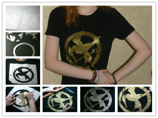 How to make mockingjay tee shirt step by step DIY tutorial instructions