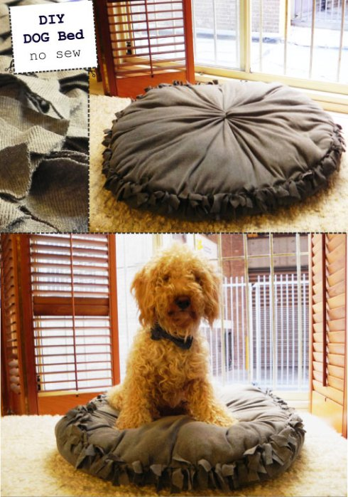 How to make no sew DIY dog bed step by step tutorial instructions