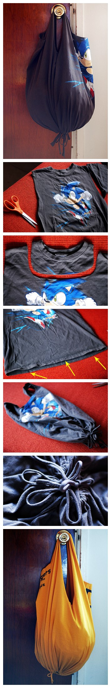 How to make no-sew recycled t-shirt tote bag in 10 minutes step by step DIY tutorial instructions