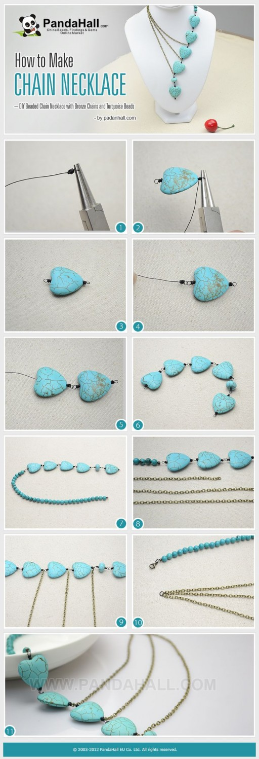 How to make pretty DIY beaded chain necklace with bronzed chains and turquoise beads step by step tutorial instructions
