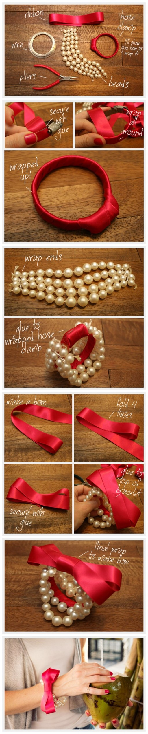 How to make pretty DIY beaded pearl bow bracelet step by step tutorial instructions