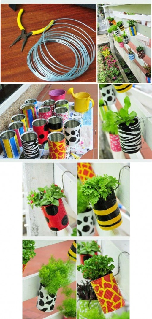 How to make pretty DIY garden planters with recycled cans step by step tutorial instructions