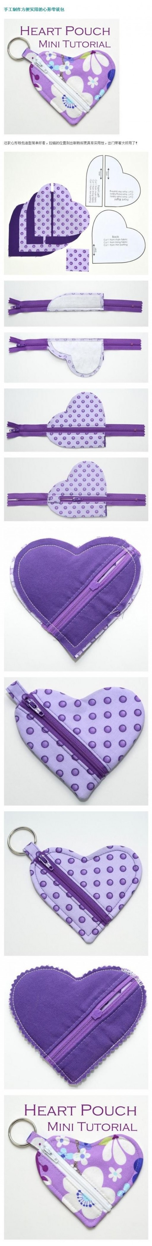 How to make pretty DIY heart-shaped pouch step by step tutorial instructions