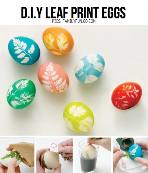 How to make pretty DIY leaf egg painting step by step tutorial instructions
