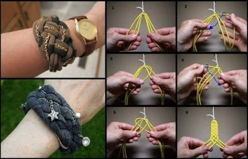 How to make pretty knotted bracelet from recycled T-shirt step by step DIY tutorial instructions