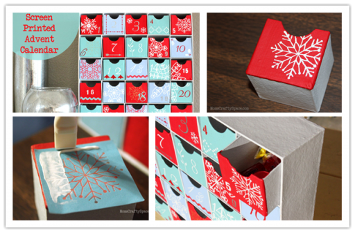 How to make pretty screen printed advent calendar drawer storage cabinets step by step DIY tutorial instructions