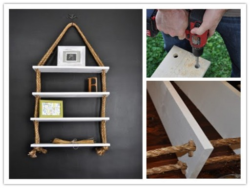How to make rope board shelf step by step DIY tutorial instructions 512x384 9 creative ways to make DIY storage shelves