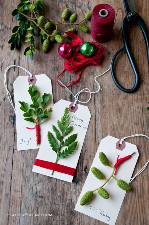 How to make simple DIY evergreen gift tags step by step tutorial instructions